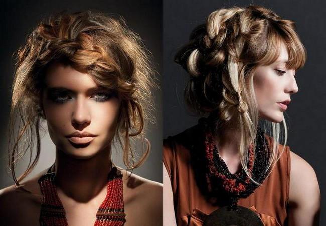 Косы на волосах средней длины