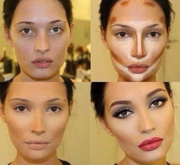 Как уменьшить нос с помощью макияжа фото до и после